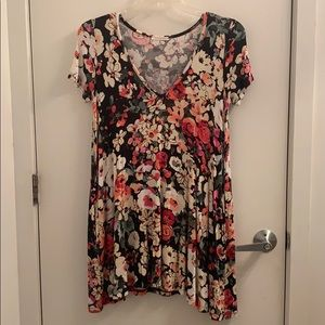 Small flower print t shirt dress with pockets